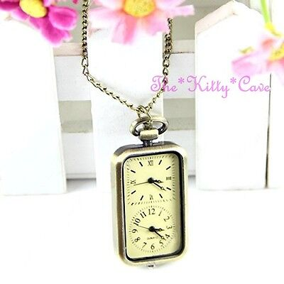 Vintage Brass Effect Dual / Twin Time Two Dial Multi Zone Necklace Pendant Watch