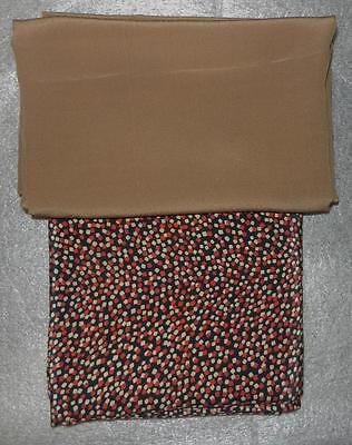 Two Pieces Of 100% Silk Fabric Confetti Pattern / Caramel Brown Total 5.21 Yards
