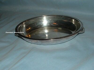Vintage MID-CENTURY Silver Plated SERVING DISH Oval ORNATE HANDLES Vegetable