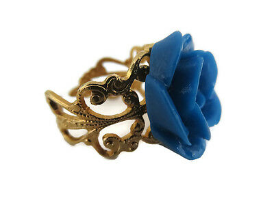 Vintage Inspired Women Blue Acrylic Rose Gold Filigree Ring Setting Adjustable