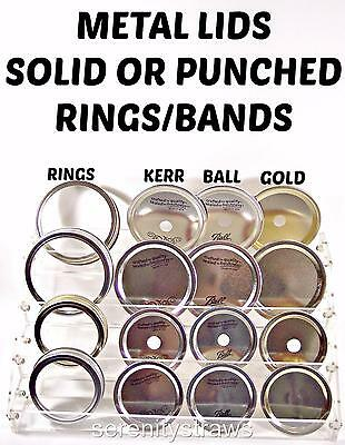 Mason Jar Lids, With Straw Holes & Without, also Metal Rings