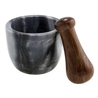 Thirstystone Mortar and Pestle Black Marble and Sheesham Wood, Multicolor