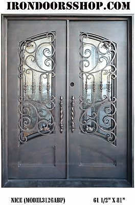 Nice Wrought Iron Double doors Operable Glass with Iron Pulls Left hand inswing