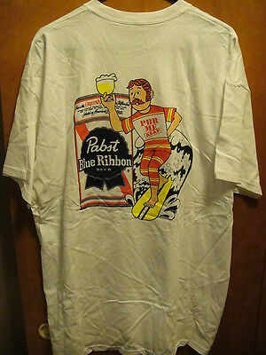 PABST BLUE RIBBON Beer  NEW MD Surfing PBR ME ASAP 2 Sided T Shirt FREE KOOZIE W