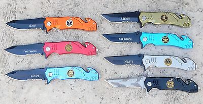 """8"""" Army Navy Marine Air Force Police Firefighter Rescue Spring Assisted Knife"""