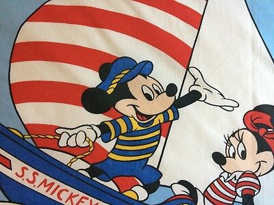 Mickey Mouse Disney Flat Twin Bed Sheet Sewing Minnie Sailing Blue Red Stripes