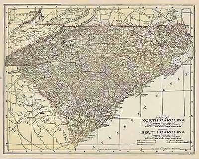 1900 ANTIQUE NORTH SOUTH CAROLINA color  map original authentic