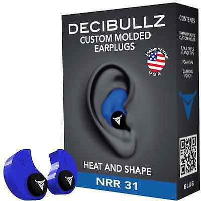 Decibullz Custom Molded Earplugs 31dB Highest NRR. Comfortable Hearing Protectio