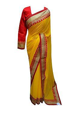 Exclusive collection South Asia Indian Yellow saree Mehendi occasions Party 7101