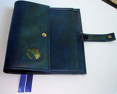 Alcoholics Anonymous AA Big Book & 12 and 12 Deluxe Blue Vinyl medallion coin