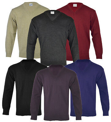 Mens Classic Plain V Neck Jumper Pull Over Work Casual S-XXL