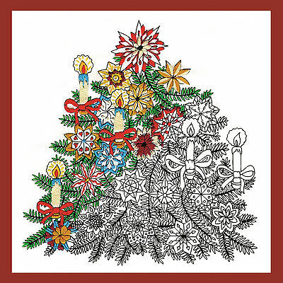 Design Works Zenbroidery Christmas Tree Fabric Pack, Embroidery