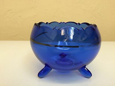 Mt Pleasant Cobalt Blue Glass Tri-Corner Footed Bowl  from L E Smith