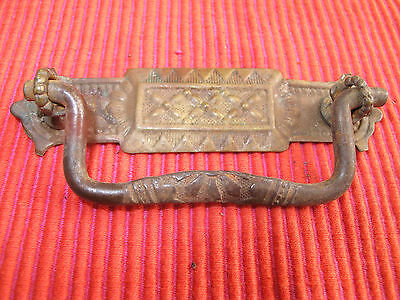 Antique Victorian Gothic Stamped Brass Cast Iron Ornate Drawer Pull Handle 4 1/4
