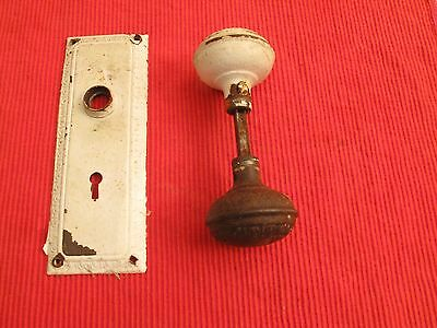 Antique Ornate Doorknob Set Escutcheon Victorian B White Paint