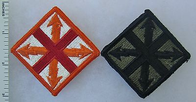 ORIGINAL US ARMY 142nd SIGNAL BRIGADE PATCH PAIR SET - COLOR & SUBDUED PATCHES