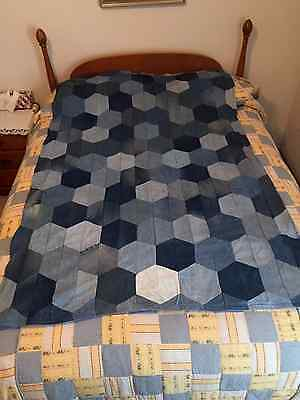 Denim Jeans Quilt Honeycomb Pattern