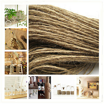 20M Twisted Burlap Natural Jute Rope Twine Braided Decking String size 1/4mm