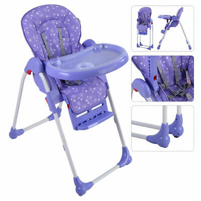 Adjustable Baby High Chair Infant Toddler Feeding Booster Seat Folding Purple
