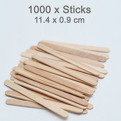 1000 FOOD GRADE Wooden Craft Stick Paddle Pop Popsicle Coffee Stirrers 11cm