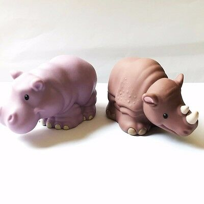 2x Little People Fisher-Price Zoo Talkers Rhino Hippo Animal  (no sound) QA241