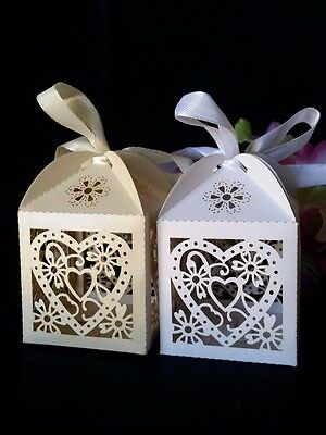 50/100 White / Ivory Love Heart Wedding Party Favor Candy Bomboniere Gift Boxes
