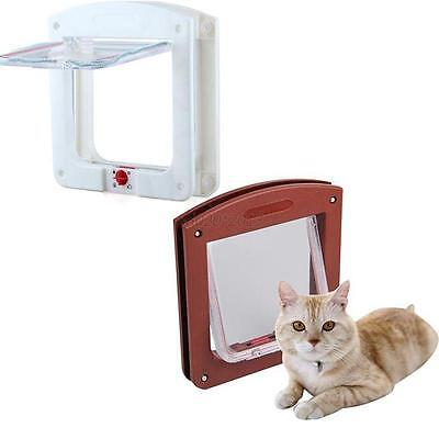 Frame 4 Way Locking Lockable Magnetic 2 Colors Cute Pet Cat Small Dog Flap Door
