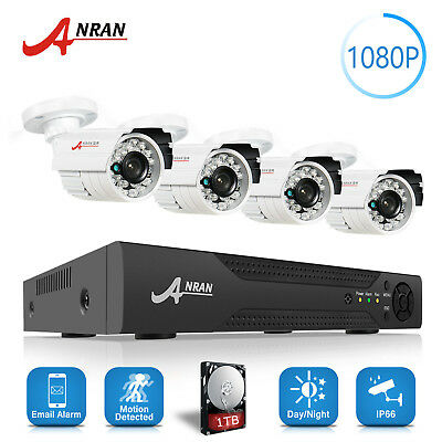 ANRAN 4CH 1080N DVR 720P AHD Outdoor Home Security CCTV Camera System 500GB HDD