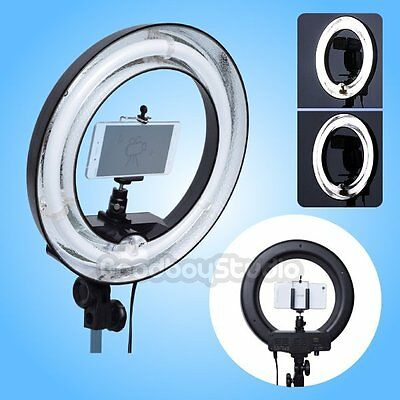 400W 5500K 34cm Dimmable Fluorescent Photo Ring Light Lamp + Camera Phone Holder