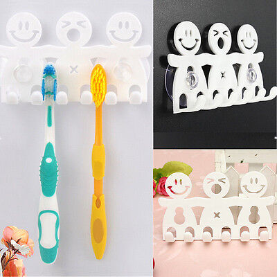 Toothpaste Toothbrush Holder Wall Mount Hanger Home Bathroom Suction Grip Rack.