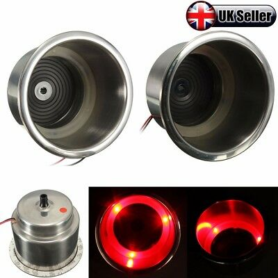 2x RED 3 LED Light Stainless Steel Cup Drink Holder Marine Boat Car Camper - UK
