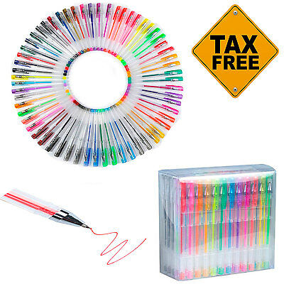 Colored Gel Pens 60 Pack Deluxe Book Coloring Glitter Art Drawing Color Pen Set