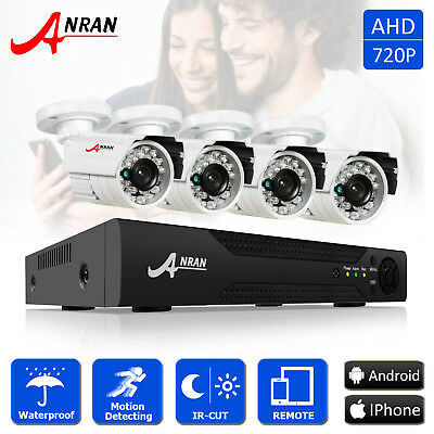ANRAN 4CH 720P 1800TVL AHD Security Camera CCTV DVR Kit IP66 Outdoor Remote View