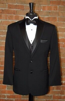 MENS 44 L  2 BUTTON CONTOUR BLACK NOTCH TUXEDO JACKET by OSCAR DE LA RENTA