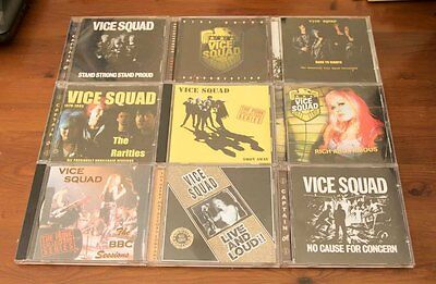 9 x RARE VICE SQUAD CDs, ALL IN EXCELLENT CONDITION. ALL LISTED.