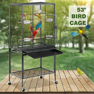 "53"" Large Bird Parrot Pet Cage Chinchilla Cockatiel Conure House with Stand"