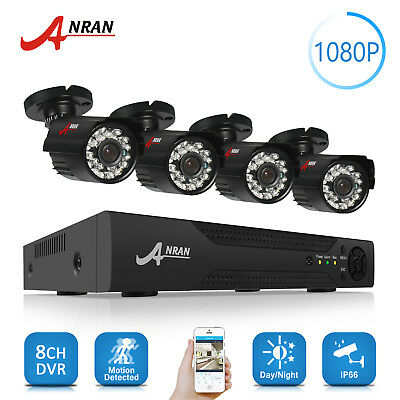 Anran 4CH 720P 1080N AHD security Outdoor HDMI DVR CCTV Camera system plug&play