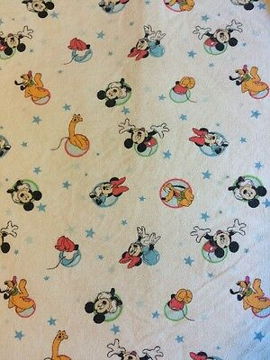 Disney Baby MICKEY MOUSE Minnie Flannel Crib Sheet Cutter Fabric Pluto Stars