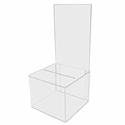 My Charity Boxes Pack of 2 Clear Acrylic Display Donation Box Ballot Box Ticket