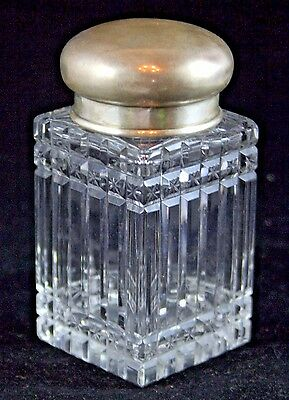 German Silver & Crystal Flask with Double Lid