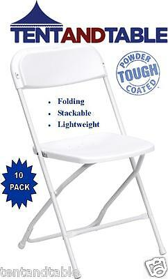 Chairs Folding 10 White Plastic Metal WEDDING Office Meeting FREE SHIPPING