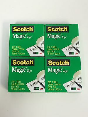 Scotch Magic Tape, 3/4 x 800 Inches, Boxed, 4 Rolls #810
