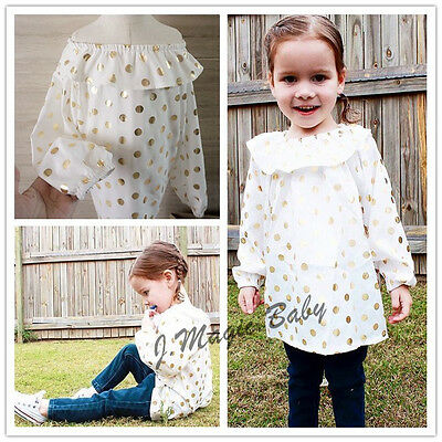 Baby Girl Kid Long Sleeve Golden Metallic Dots Dress T Shirt Top Clothing