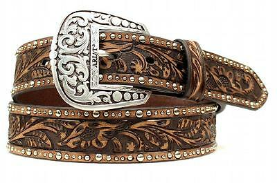 Ariat Western Womens Belt Leather Embossed Inlay Nail Brown A1513802