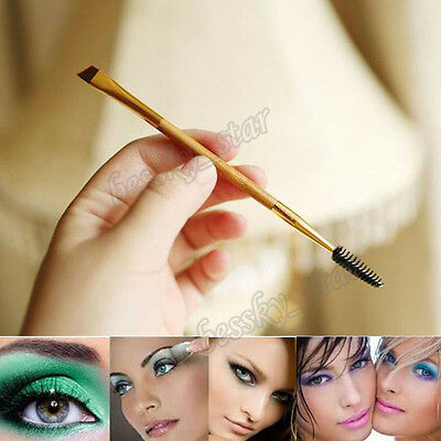 STAR Makeup Bamboo Handle Double Eyebrow Brush Comb Mascara Wands Cosmetic Tool