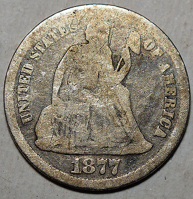 1877-Cc Seated Liberty Dime-Type Ii Rev-.900 Silver-Km A92-Ag+ Free Us Shipping