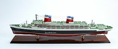 SS United States Ocean Liner Wooden Ship Model Scale 1/350 High Quality