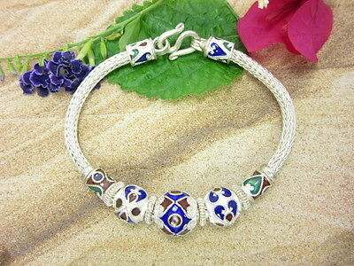 STUNNING DETAIL BEADS BRACELET Thai Solid 925 Sterling Silver Jewelry Gift