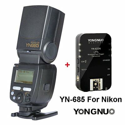 Yongnuo YN685 Wireless Speedlite Flash + YN622N Trigger for Nikon Camera UK