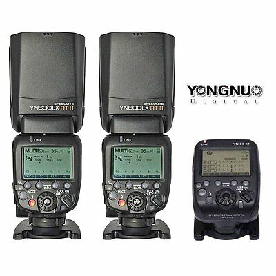 Yongnuo YN-E3-RT Transmitter + 2PCS YN600EX-RT Speedlite TTL Flash For Canon UK